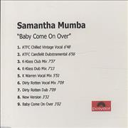 Click here for more info about 'Samantha Mumba - Baby Come On Over Mixes'