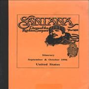 Click here for more info about 'Santana - Dance Of The Rainbow Serpent Tour 1996 - Tour Itinerary'