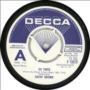 "Savoy Brown So Tired - A Label UK 7"" vinyl Promo"