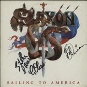 Click here for more info about 'Saxon - Sailing To America - Autographed (3 Signatures)'
