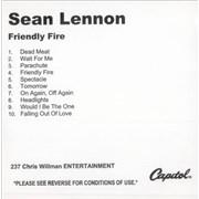 Sean Lennon Friendly Fire USA CD-R acetate Promo