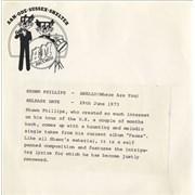 """Shawn Phillips Anello (Where Are You) - P/S UK 7"""" vinyl Promo"""