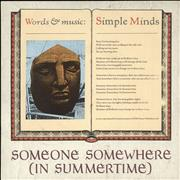 "Simple Minds Someone Somewhere [In Summertime] UK 7"" vinyl"