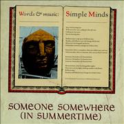 "Simple Minds Someone Somewhere UK 12"" vinyl"