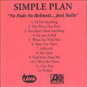 Click here for more info about 'Simple Plan - No Pads, No Helmets... Just Balls'