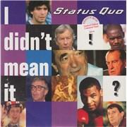 """Status Quo I Didn't Mean It - Blue Vinyl UK 7"""" vinyl"""