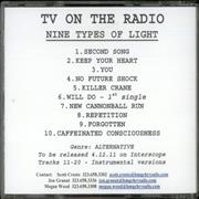 Click here for more info about 'TV On The Radio - Nine Types Of Light'