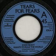 """Tears For Fears Everybody Wants To Rule The World - Wide UK 7"""" vinyl"""