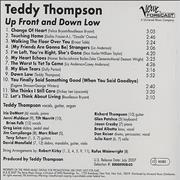 Teddy Thompson Up Front And Down Low USA CD album Promo