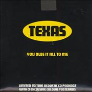 Texas You Owe It All To Me + 3 Postcards UK CD single