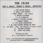 Click here for more info about 'The Cribs - Men's Needs, Women's Needs, Whatever'