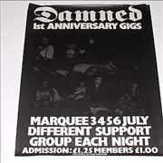 Click here for more info about 'The Damned - 1st Anniversary Gigs - Marquee 3,4,5 & 6th July - repro'