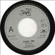 Click here for more info about 'The Jam - Strange Town - Wide-paper label'