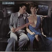 The Scorpions Lovedrive - Factory Sample stickered UK vinyl LP
