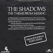 Click here for more info about 'The Shadows - The Theme From 'Missing' - Promo Sleeve'