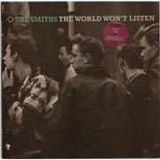 The Smiths The World Won't Listen - stickered p/s UK vinyl LP