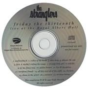 The Stranglers Friday The Thirteenth UK CD album Promo