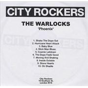 The Warlocks Phoenix Album UK CD-R acetate Promo