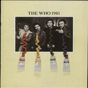 The Who The Who 1981 UK tour programme