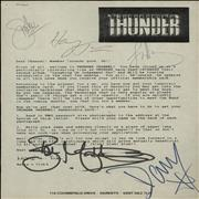 Click here for more info about 'Thunder - Thunder Channel Welcome Letter - Autographed + Ticket Stub'