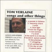 Click here for more info about 'Tom Verlaine - Songs And Other Things + Around'