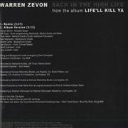 Click here for more info about 'Warren Zevon - Back In The High Life'