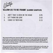 Westlife Allow Us To Be Frank - Album Sampler UK CD-R acetate Promo