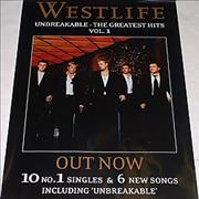 Westlife Unbreakable - The Greatest Hits Vol. 1 UK poster Promo