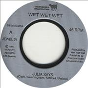 Click here for more info about 'Wet Wet Wet - Julia Says - Jukebox Issue'