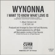 Click here for more info about 'Wynonna Judd - I Want To Know What Love Is'