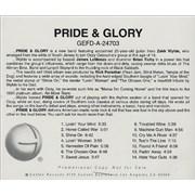 Zakk Wylde Pride & Glory USA CD album Promo