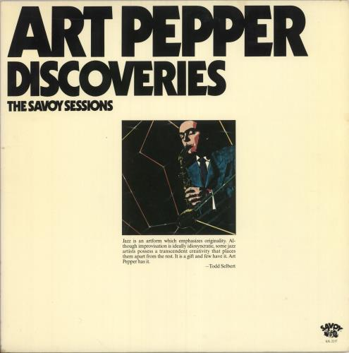 PEPPER, ART - Discoveries - The Savoy Sessions - 12 inch 33 rpm