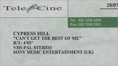 CYPRESS HILL - Can't Get The Best Of Me - VHS