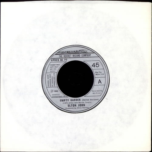 Elton John Empty Garden Edit Uk Promo 7 Vinyl Record