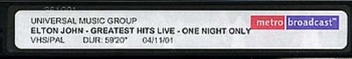 John, Elton Greatest Hits Live - One Night Only