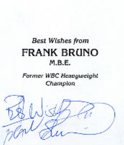 BRUNO, FRANK - Autographed Frank Bruno Photocard - Others