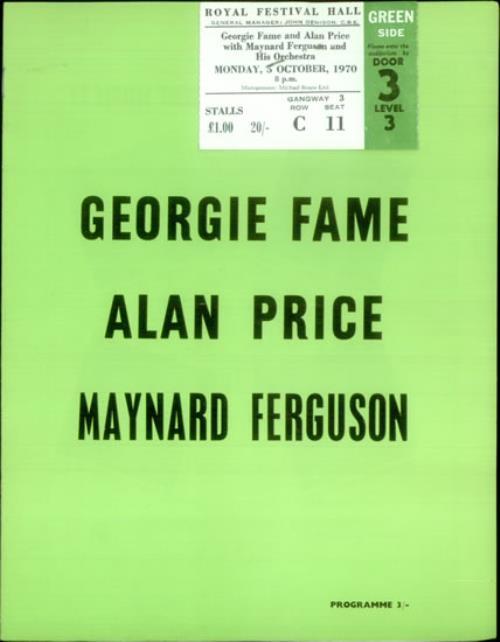 GEORGIE FAME - Royal Festival Hall 1970 + ticket stub - Autres