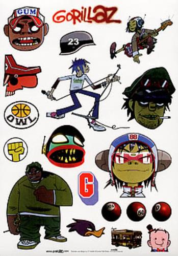 Gorillaz Sticker Sheet 17 Stickers Uk Promo Memorabilia