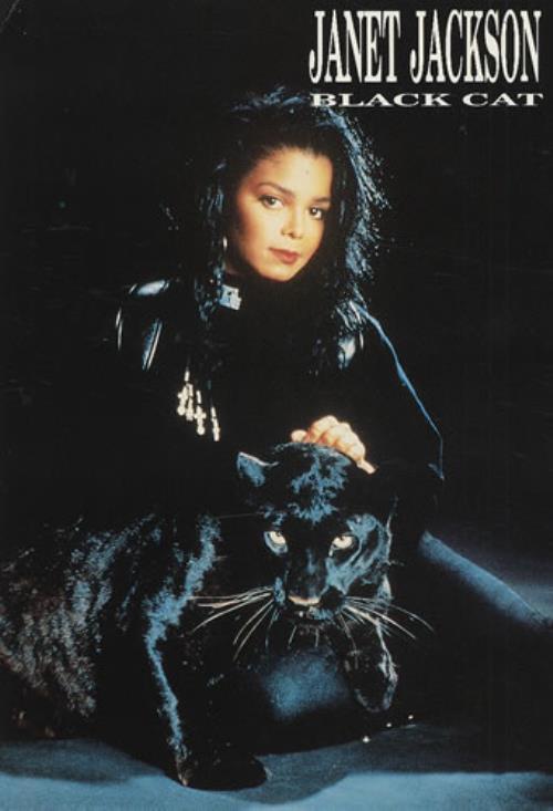 Janet Jackson Black Cat Dutch Memorabilia Postcard Black Cat Janet