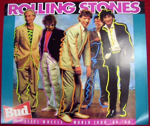 ROLLING STONES - Bud Presents Steel Wheels World Tour '89-'90 - Poster / Display