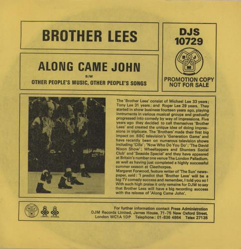 BROTHER LEES, THE - Along Came John - 45T x 1