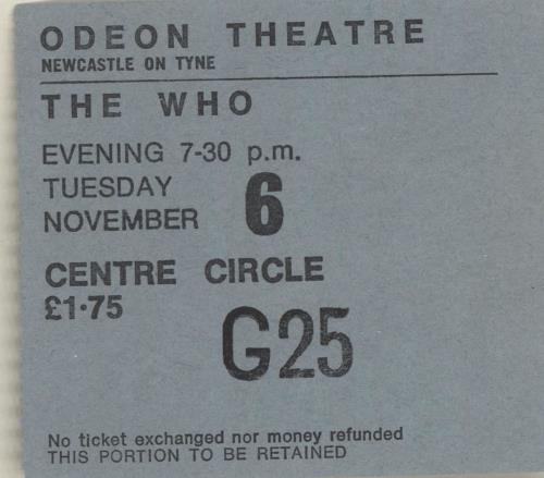 WHO - 1973 Odeon Theatre, Newcastle Ticket Stub - Others