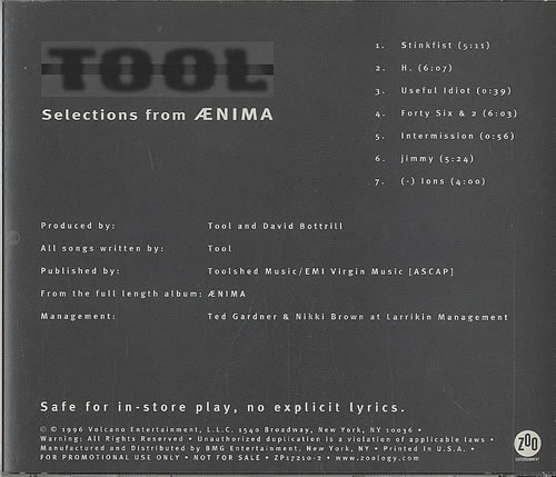 Tool Selections From Aenima USA Promo 5