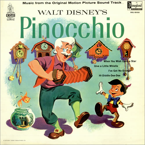 Walt Disney Pinocchio UK Vinyl LP Record DQ1202 Pinocchio