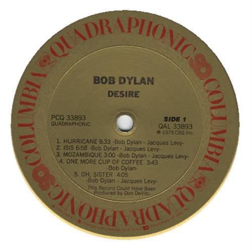 Bob Dylan Desire - Quad USA Vinyl LP Record PCQ33893 Desire