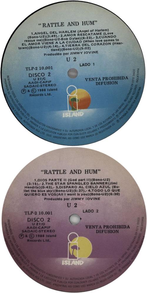 U2 Rattle And Hum Argentina Double Vinyl LP TLP2-10001
